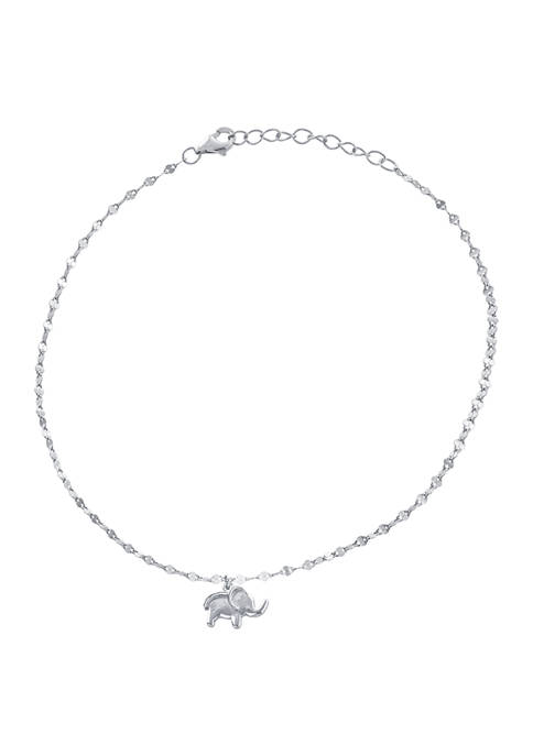 Belk Silverworks Sterling Silver Single Elephant Charm Anklet