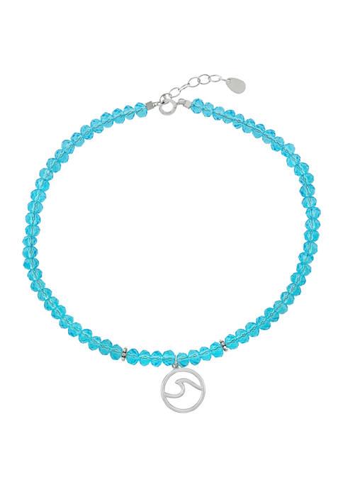 Belk Silverworks 9 Inch Blue Crystal Beaded with