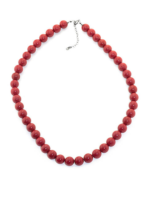 Reconstituted Coral Beaded Necklace