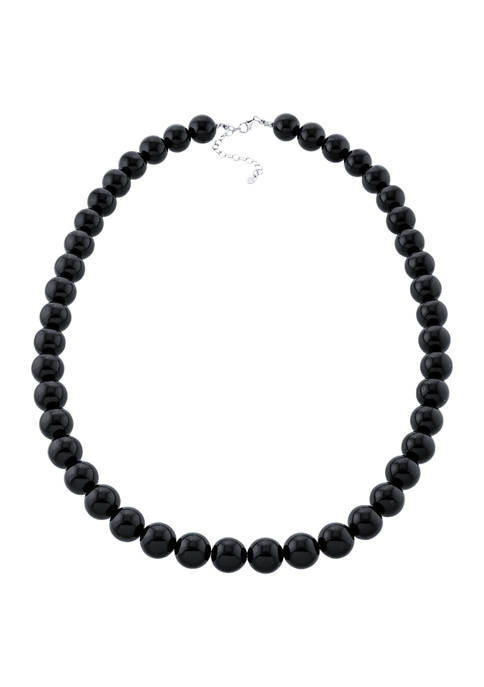 Sterling Silver Black Chalcedony Beaded Necklace