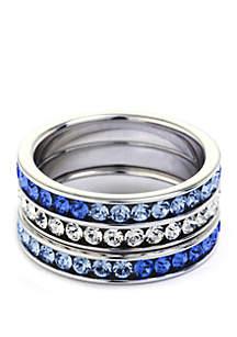 Belk Silverworks 3-Piece Fine Silver-Plated Eternity Crystal Ring Trio