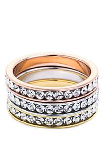 Belk Silverworks Tri Tone Eternity Crystal Ring Set