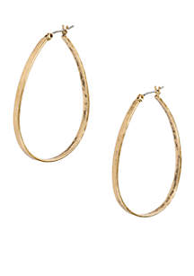 Lucky Brand Vintage Silver-Tone Oblong Hoop Earring