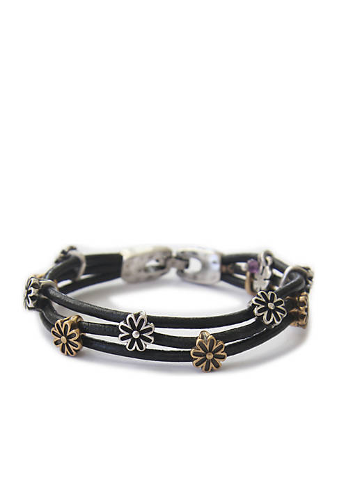 Lucky Brand Two-Tone Floral Bracelet