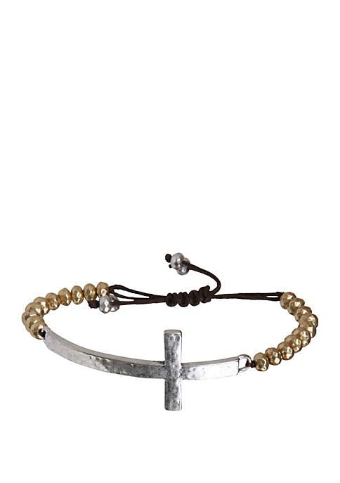 Lucky Brand Cross Beaded Bracelet