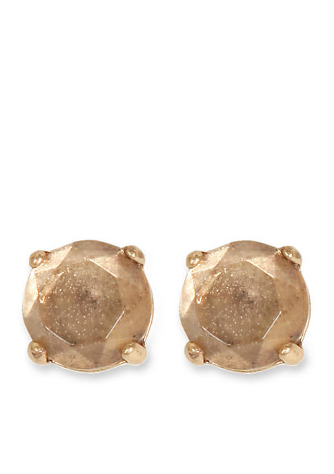 Lucky Brand Clear Semi Precious Rock Stud Earring