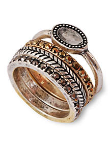 Two-Tone Organic Stone Stack Ring