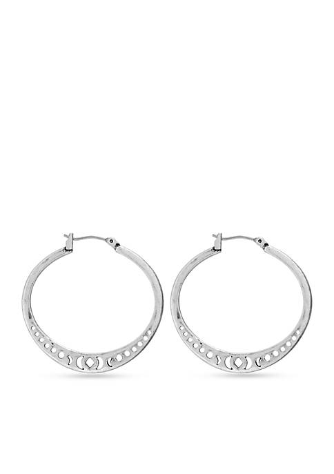 Lucky Brand Silver-Tone Floral Openwork Hoop Earrings
