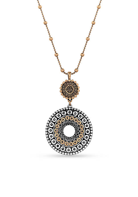 Lucky Brand 2 Tone Tribal Pendant Necklace