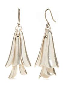 Silver-Tone Petal Drop Earrings