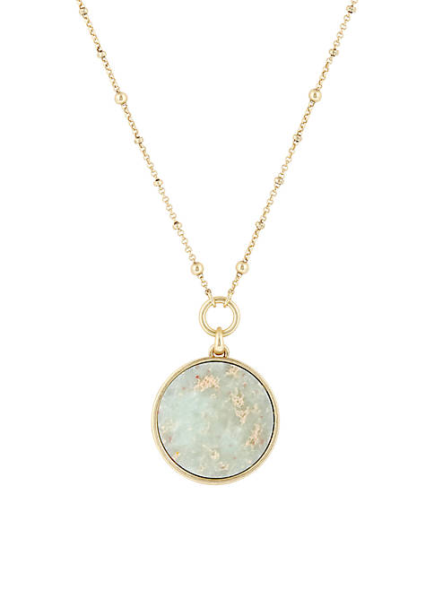 Lucky Brand Gold-Tone Jasper Reversible Pendant Necklace