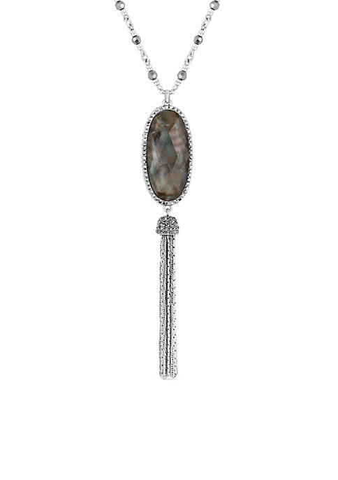 Lucky Brand Silver-Tone Mother Of Pearl Tassel Necklace