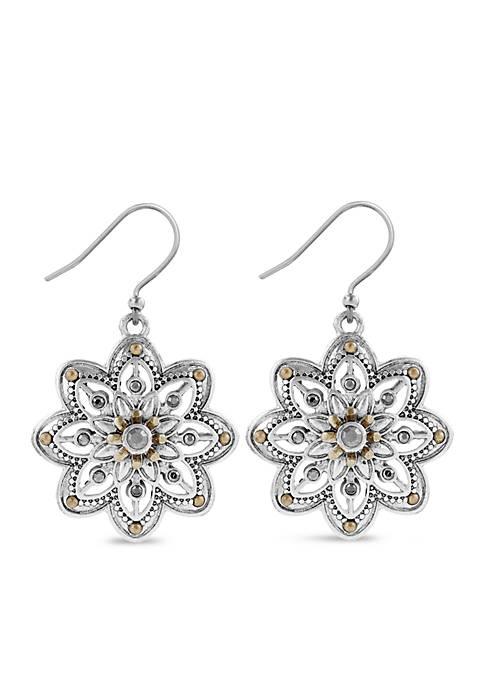 Silver-Tone Floral Drop Earrings