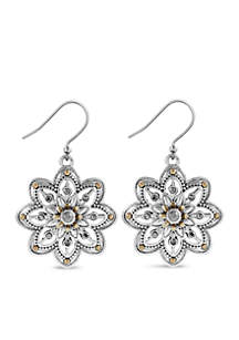 Lucky Brand Silver-Tone Floral Drop Earrings