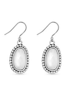 Lucky Brand Silver-Tone Mother Of Pearl Organic Drop Earrings