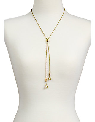 One Size Lucky Brand Pearl Lariat Necklace Gold