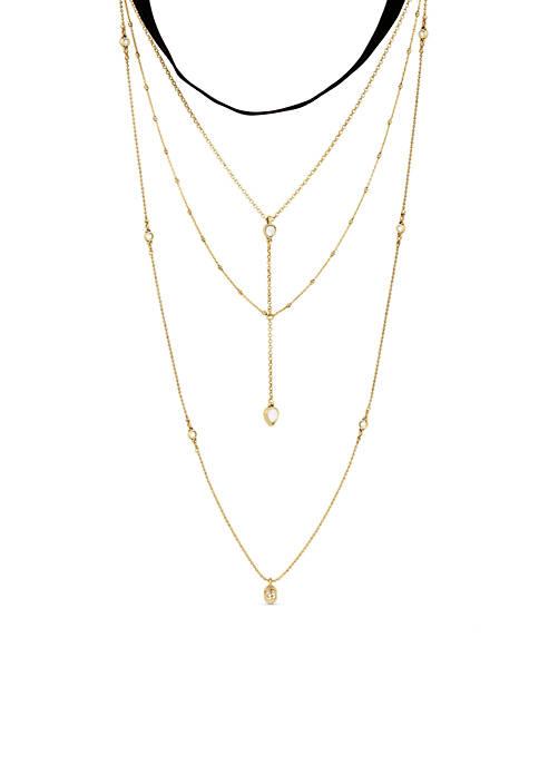 Lucky Brand Velvet Choker Layered Necklace