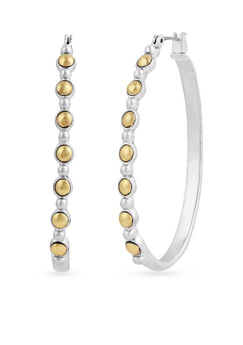 Lucky Brand Two-Tone Oblong Hoop Earrings