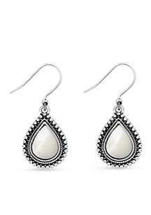 Lucky Brand Silver-Tone Mother of Pearl Drop Earrings