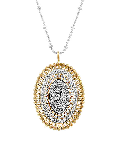 Lucky Brand Silver-Tone Pave Pendant Necklace