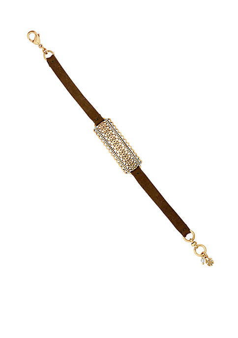 Lucky Brand Two-Tone Filigree Leather Bracelet