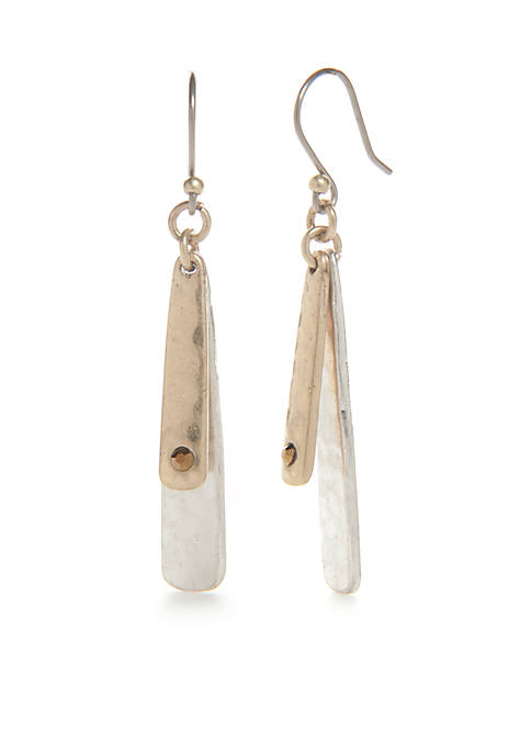Lucky Brand Two-Tone Double Layer Drop Earrings