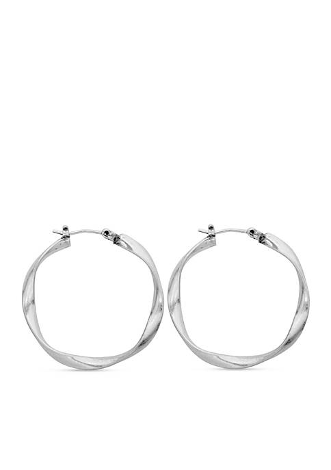 Lucky Brand Silver-Tone Twisted Hoop Earrings
