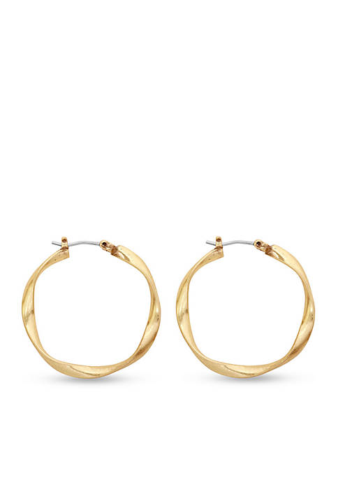 Lucky Brand Gold-Tone Twisted Hoop Earrings