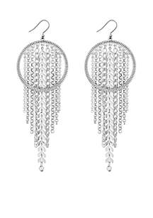 Silver-Tone Chain Hoop Earrings