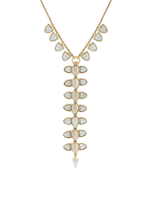 Lucky Brand Gold-Tone Jasper Y-Statement Necklace