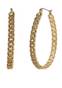 Gold-Tone Pave Chain Hoop Earrings