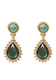 Turquoise and Mother-Of-Pearl Drop Earrings