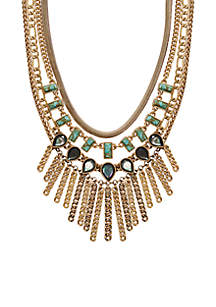 Set-Stone Chain Statement Necklace