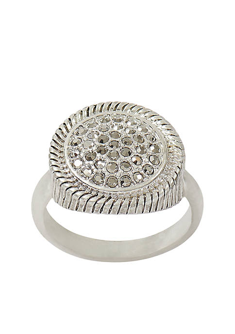 Silver-Tone Pave Ring
