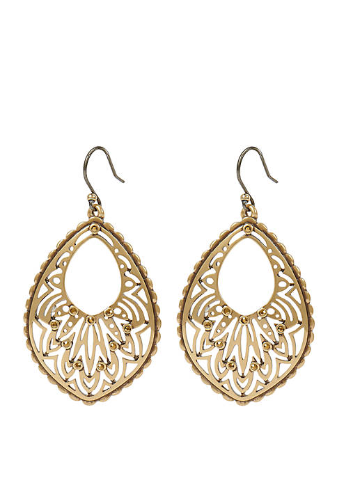 Gold Tone Open Work Pave Drop Earrings