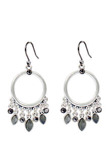 Silver-Tone Pave Stone Dangle Hoops