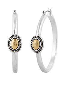 Two-Tone Pave Gem Hoop earrings