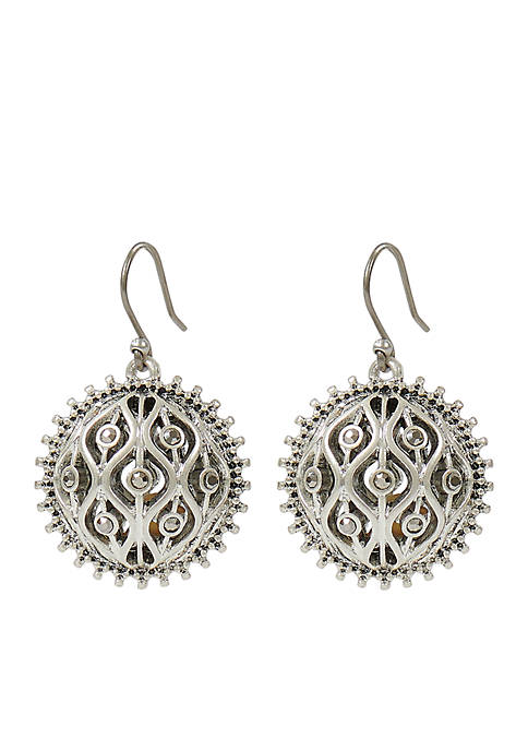Openwork Pave Ball Drop Earring