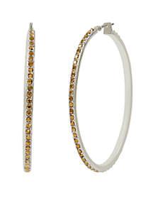 Silver-Tone Pave Hoop Earrings