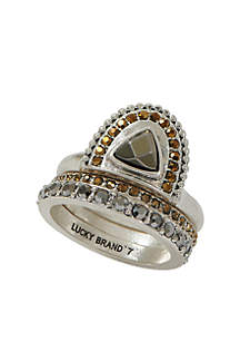 Tribal Pave Ring Stack