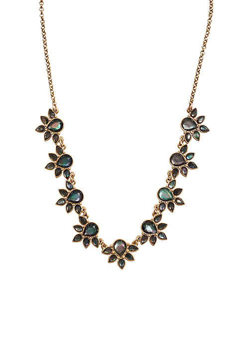 Lucky Brand Mother-Of-Pearl Floral Collar Necklace