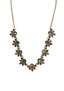 Mother-Of-Pearl Floral Collar Necklace