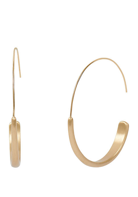 Lucky Brand Brushed Gold-Tone Modern Hoops