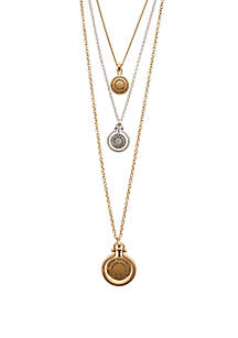 Brushed Medallion Lucky Layered Necklace