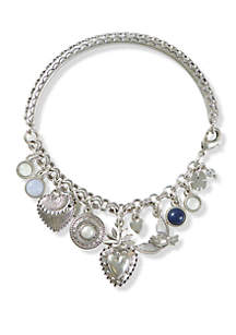 Hearts and Birds Charm Cuff Bracelet