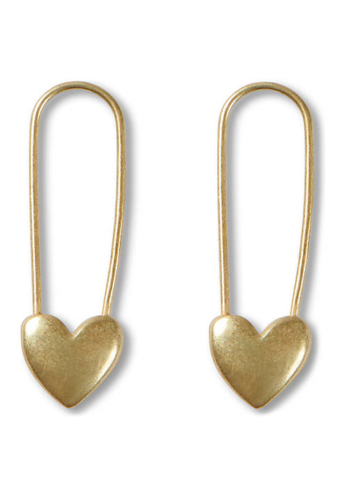 Gold Tone Safety Pin Earrings