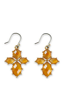 Lucky Brand Citrine Mini Floral Drop Earrings