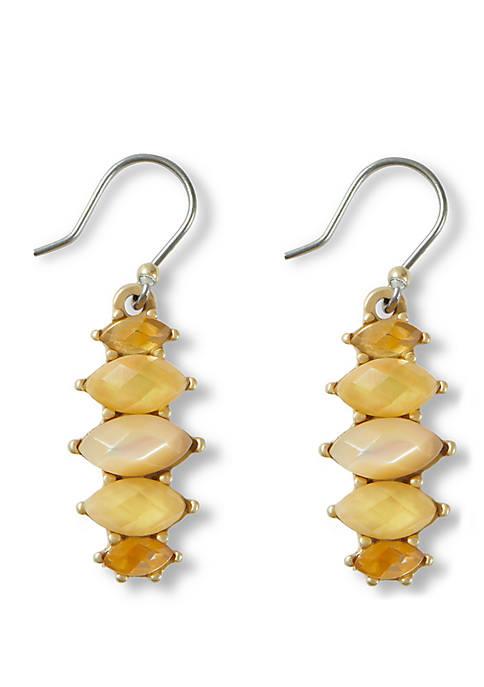 Lucky Brand Citrine Stone Mini Drop Earrings