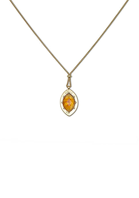 Lucky Brand Citrine Bee Reversible Pendant Necklace