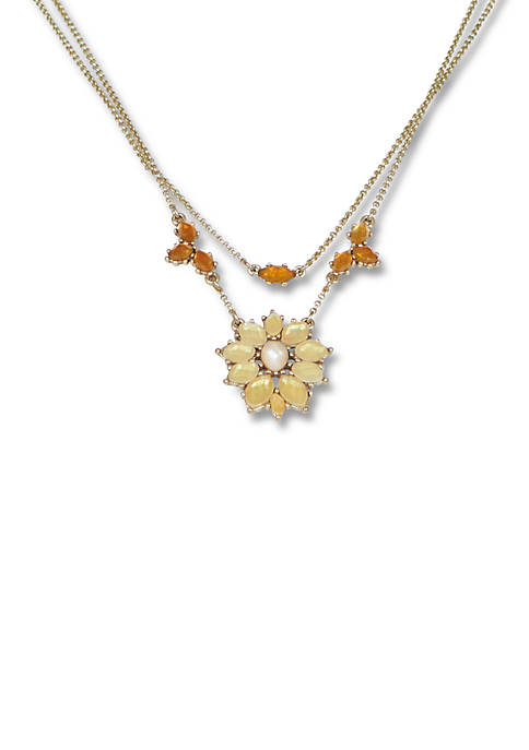Lucky Brand Set Stone Floral Layer Necklace